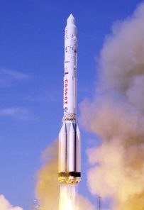 A proton booster lifts off from the Bykanor Cosmodrome